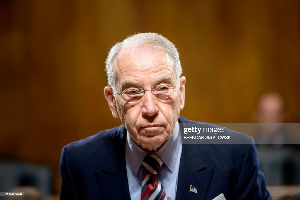 New committee chairman Senator <a gi-track='captionPersonalityLinkClicked' href=/galleries/search?phrase=Chuck+Grassley&family=editorial&specificpeople=504960 ng-click='$event.stopPropagation()'>Chuck Grassley</a> (R-IA) takes his seat for a meeting of the Senate Judiciary Committee on Capitol Hill January 22, 2015 in Washington, DC.
