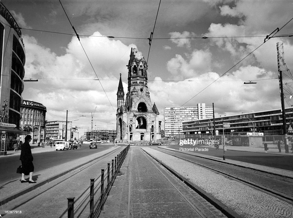 New construction around Kaiser Wilhelm Memorial Church in West Berlin Germany 1955