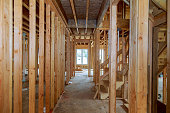 New construction framing stick built house with frame