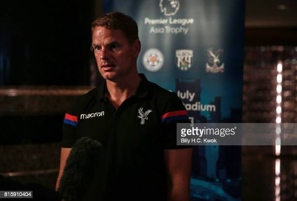 New Crystal Palace manager Frank de Boer speaks to media on arrival in Hong Kong on July 17 2017 ahead of the Premier League Asia Trophy which takes...