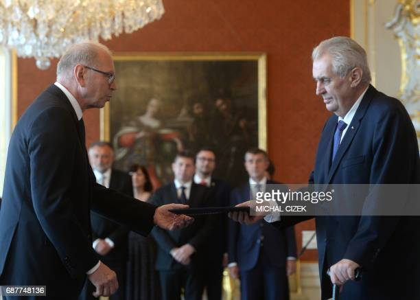 New Czech Minister of Finance Ivan Pilny from the ANO party is appointed by President Milos Zeman on May 24 2017 at the Hradcany Castle in Prague...
