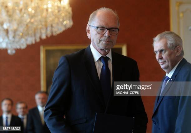 New Czech Minister of Finance Ivan Pilny from the ANO party leaves after having been appointed by President Milos Zeman on May 24 2017 at the...