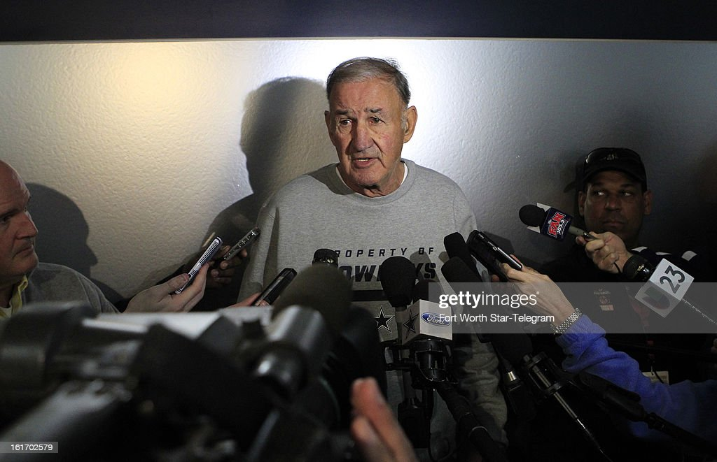 New Dallas Cowboys defensive coordinator Monte Kiffin talks with the media during an introductory interview session of coaching staff members, Thursday, February 14, 2013 at Valley Ranch in Irving, Texas.