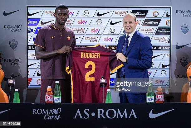 New defender As Roma Antonio Rudiger with General Director Mauro Baldissoni on Rome Italy 3th September 2015