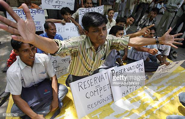 Activists of the All India Reservation Forum for Other Backward Classes and Scheduled Castes / Scheduled Tribes shout slogans against ongoing...