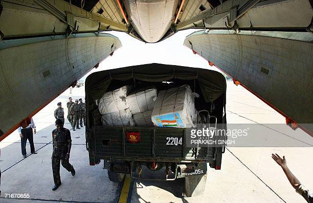 An Indian Army truck arrrives with relief supplies destined for Lebanon for loading onto a Indian Air Force IL76 cargo aircraft at the air force...