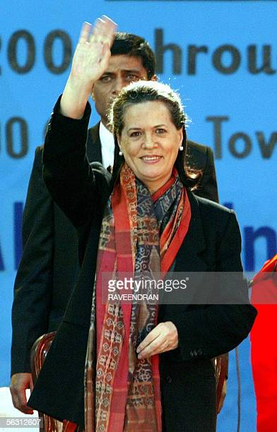 Chairperson of the UPA Government and Congress Party President Sonia Gandhi waves during an AIDSWalk for Life meeting on World AIDS Day in New Delhi...