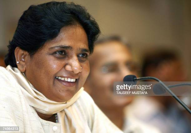 Chief minister of the Indian state of Uttar Pradesh Mayawati speaks during a press confrence in New Delhi 12 June 2007 During the conference Mayawati...