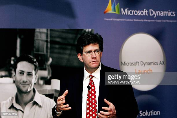 Chief Operating Officer at Microsoft India Doug Hauger gestures as he speaks during the launch of Microsoft Dynamics AX 40 in New Delhi 07 February...