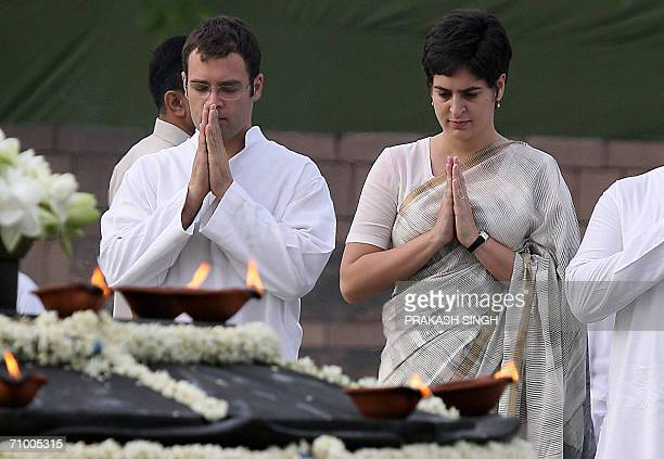 Congress Party President Sonia Gandhi's daughter Priyanka and son Rahul Gandhi pray at the cremation site and memorial to their father and slain...