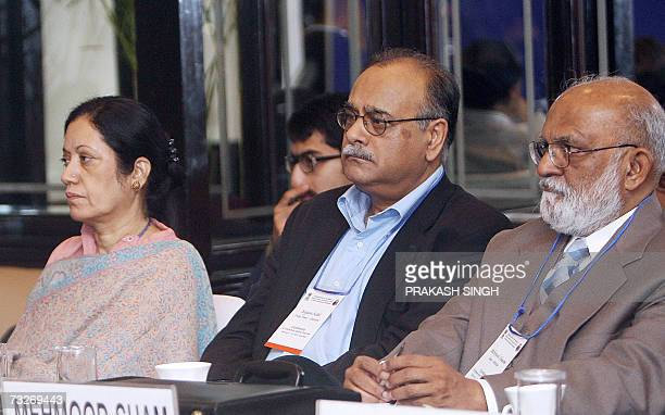 Editors of Pakistan's national newspapers Rehana Hakeem of Newsline Najam Sethi of Daily Times and Mehmood Shaam of Jang listen to Indian Foreign...