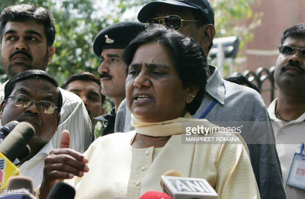 In this file photograph dated 06 April 2007 Bahujan Samaj Party chief Mayawati addresses the media after leaving the Election Commission after...