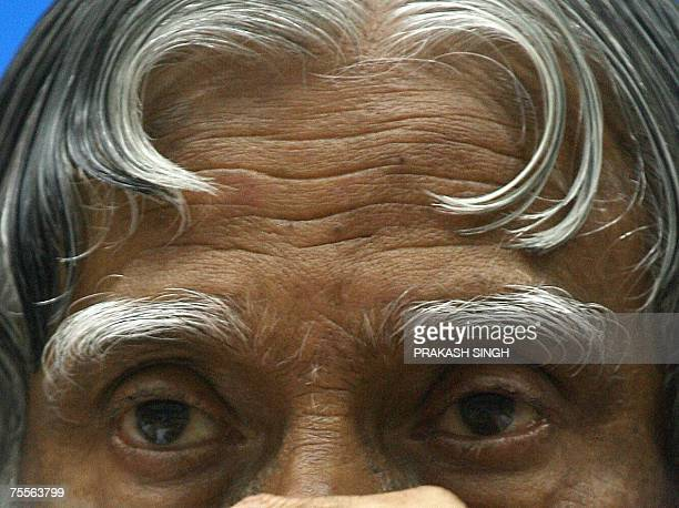 In this file picture taken 14 May 2007 Indian President APJ Abdul Kalam contemplates the words of an unseen speaker during an Education Summit in New...