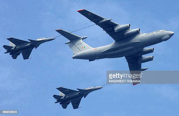 Indian Air force pilots practice refuelling Sukhoi 30 fighter jets as they take part in a Republic Day rehearsal in New Delhi 20 January 2006...
