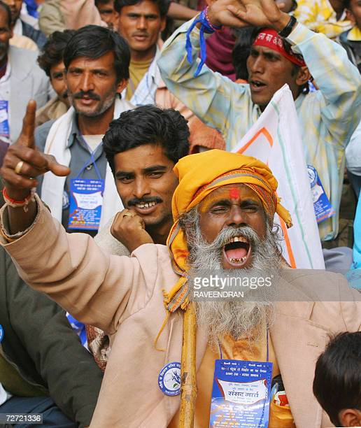 Indian Dalits shout antigovernment slogans during a rally organized by National Conference of Dalit Organisations in New Delhi 05 December 2006...