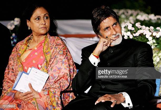 Indian film actor Amitabh Bachchan and his wife Jaya Bachchan look on during a function at the French Embassy in New Delhi 27 January 2007 during...