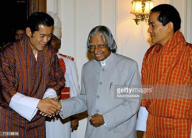 Indian President APJ Abdul Kalam shakes hands with Bhutan's Crown Prince Jigme Khesar Namgyal Wangchuck as the King of Bhutan Jigme Singye Wangchuck...