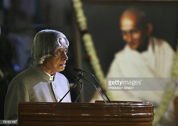 Indian President Dr A P J Abdul Kalam delivers his speech before presenting the Gandhi Peace Prize 2005 to South African Archbishop Desmond Tutu...
