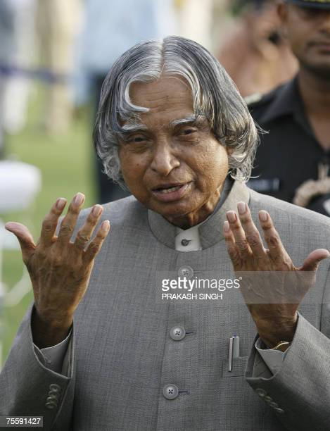 India's outgoing President A P J Abdul Kalam gestures while meeting guests during a reception at the Presidential palace in New Delhi 22 July 2007...