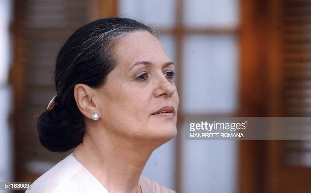 India's ruling Congress Party chief and chairperson of the United Progressive Alliance government Sonia Gandhi addresses a press conference in New...