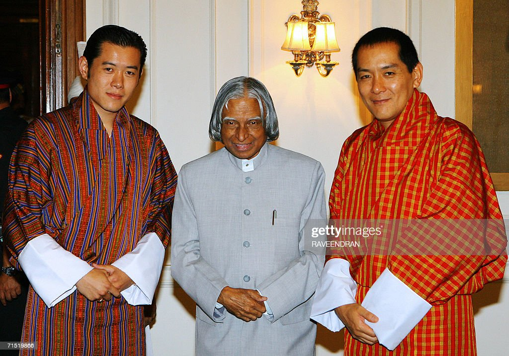 King of Bhutan, <a gi-track='captionPersonalityLinkClicked' href=/galleries/search?phrase=Jigme+Singye+Wangchuck&family=editorial&specificpeople=737467 ng-click='$event.stopPropagation()'>Jigme Singye Wangchuck</a>, (R), Indian President A.P.J. <a gi-track='captionPersonalityLinkClicked' href=/galleries/search?phrase=Abdul+Kalam&family=editorial&specificpeople=3161100 ng-click='$event.stopPropagation()'>Abdul Kalam</a>, (C), and Bhutan's Crown Prince, Jigme Khesar Namgyal Wangchuck pause during a meeting at the Presidential Palace in New Delhi, 26 July 2006. Bhutanese King <a gi-track='captionPersonalityLinkClicked' href=/galleries/search?phrase=Jigme+Singye+Wangchuck&family=editorial&specificpeople=737467 ng-click='$event.stopPropagation()'>Jigme Singye Wangchuck</a> is in India for a six-day official visit. AFP PHOTO/ RAVEENDRAN