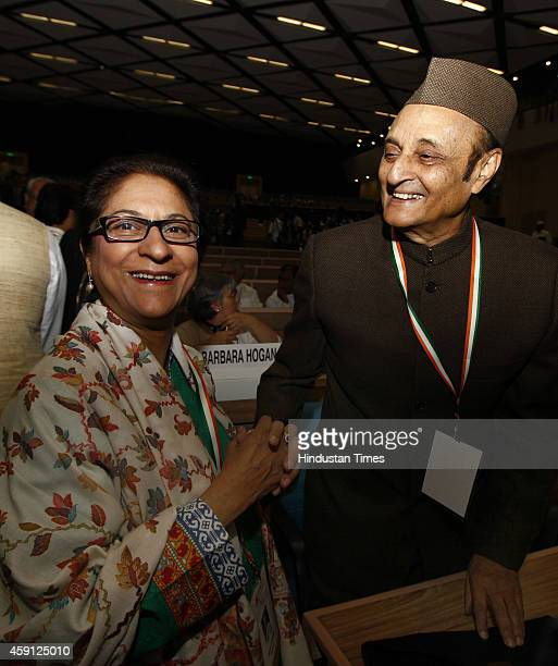 Lawyer and Human Right Activist from Pakistan Asma Jahangir with Congress leader DR Karan Singh at the twoday long international conference to...