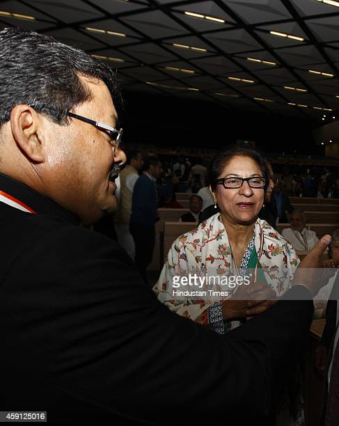 Lawyer and Human Right Activist from Pakistan Asma Jahangir with Congress leader Mukul Wasnik at the twoday long international conference to...