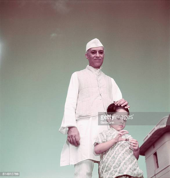 Pandit Nehru in Delhi with his grandson Rajiv Gandhi future Prime Minister of India