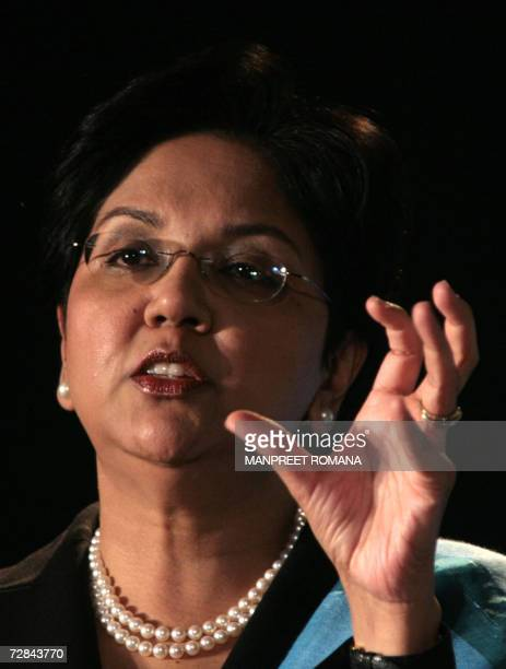 President and CEO of PepsiCo Indra K Nooyi gestures as she addresses a press conference in New Delhi 18 December 2006 Seeking to completely undo the...
