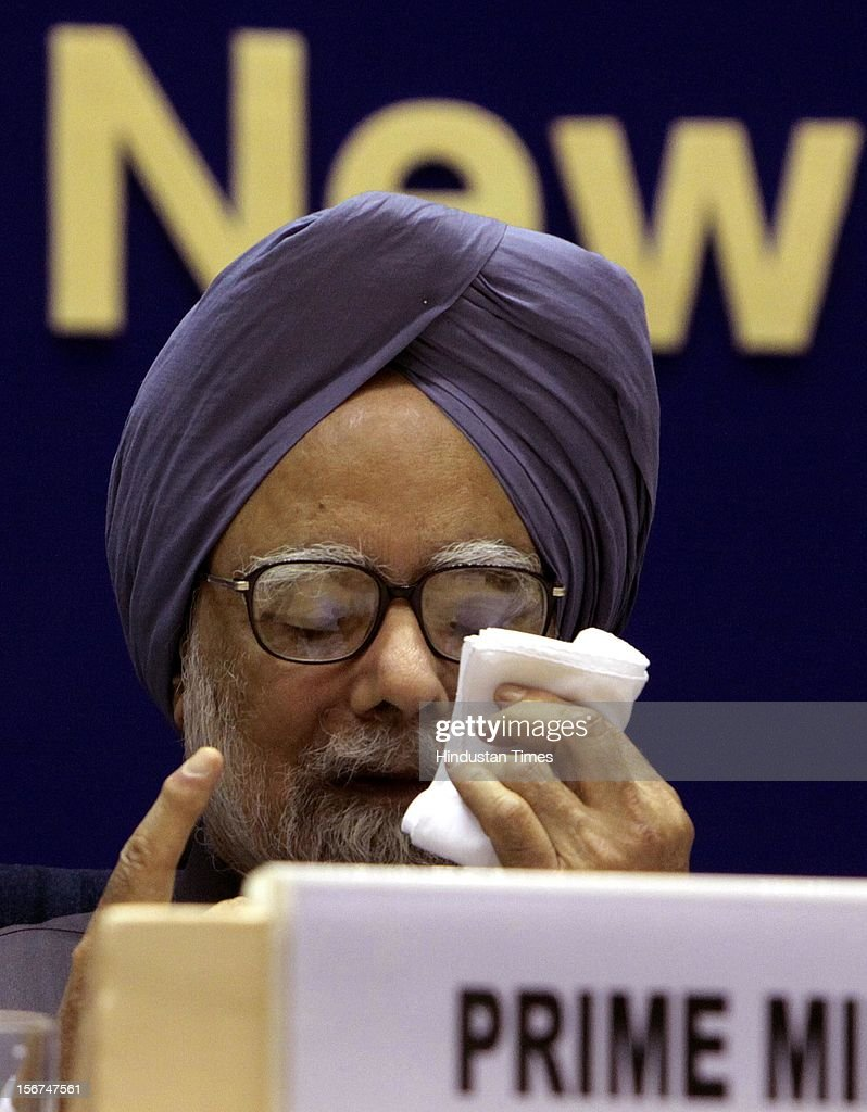 'New Delhi, India- September 08; Prime Minister Manmohan Singh during the All India Conference of DGPs / IGPs on September 8, 2012 in New Delhi, India. (Photo by Sunil Saxena/Hindustan Times via Getty Images) '