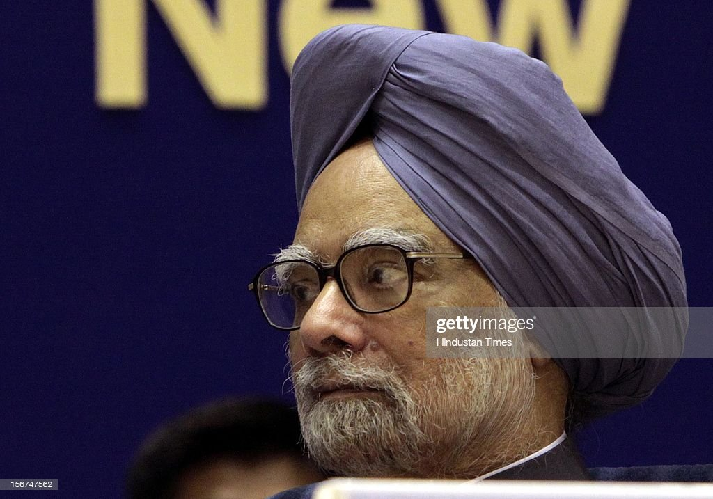 'New Delhi, India- September 08; Prime Minister Manmohan Singh during the All India Conference of DGPs / IGPs on September 8, 2012 in New Delhi, India. (Photo by Sunil Saxena/Hindustan Times via Getty Images)'