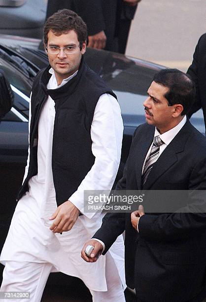 Son of India's ruling Congress Party President Sonia Gandhi and Member of Parliament Rahul Gandhi arrives with brotherinlaw Robert Vadra for the...