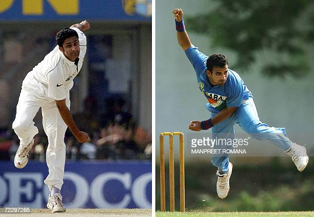 This combination of pictures taken 13 March 2006 and 14 July 2004 show Indian cricketers Anil Kumble and Zaheer Khan bowling for the national team in...