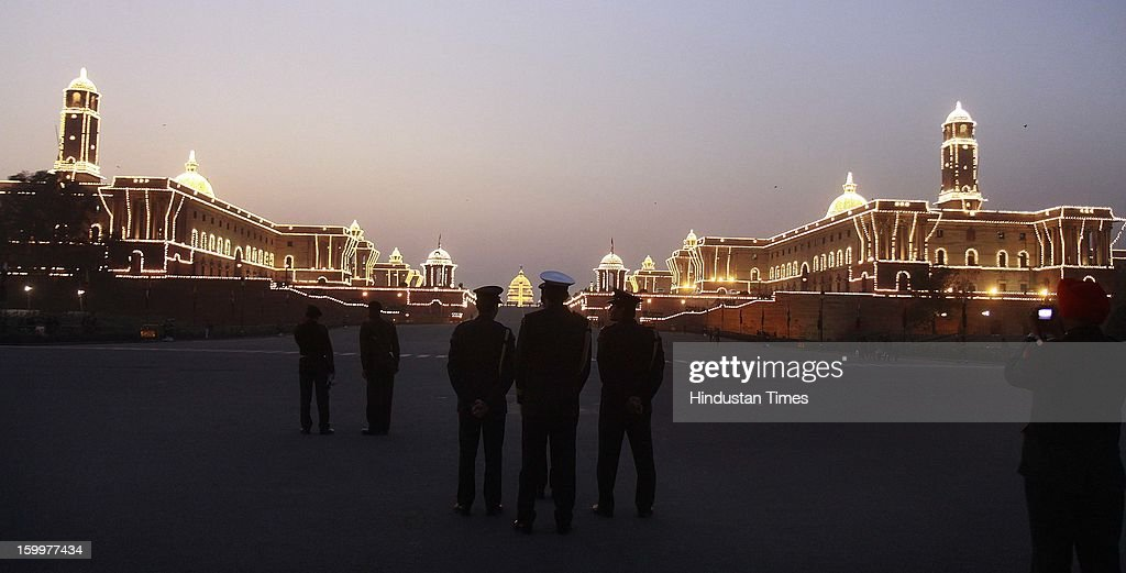 An illuminated view of Raisina Hill ahead of Republic Day, on January 24, 2013 in New Delhi, India. The ceremony symbolises retreat after a day on the battlefield, and marks the official end of the Indian Republic Day celebrations. It is held every year on January 29.