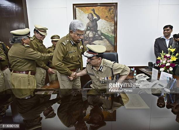 New Delhi Police Commissioner Alok Kumar Verma takes over as Commissioner of Police Delhi from BS Bassi at PHQ on February 29 2016 in New Delhi India...