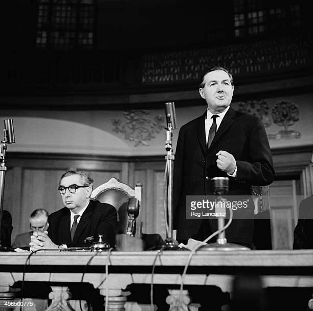 New Deputy Prime Minister George Brown and new Chancellor of the Exchequer James Callaghan at a press conference UK 26th October 1964