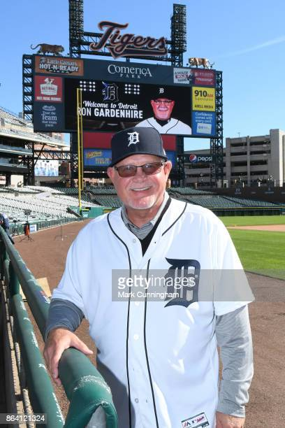 New Detroit Tigers manager Ron Gardenhire poses for a photo out on the field during the press conference to announce his signing at Comerica Park on...