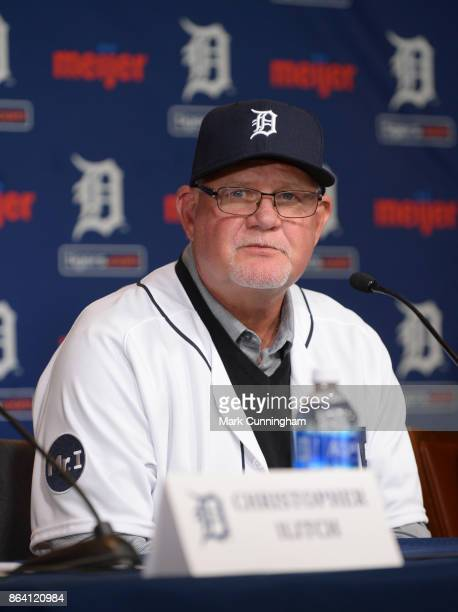 New Detroit Tigers manager Ron Gardenhire talks to the media during the press conference to announce his signing at Comerica Park on October 20 2017...
