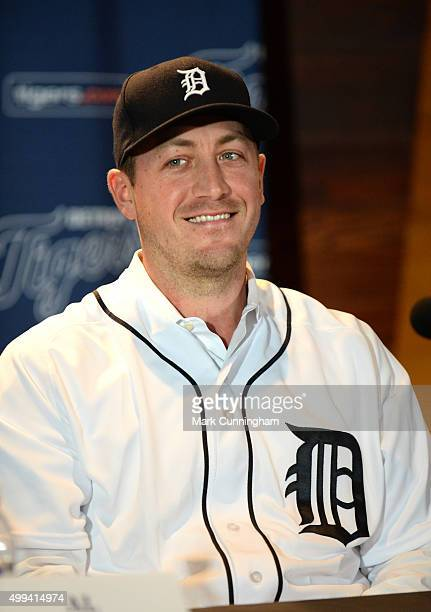 New Detroit Tigers pitcher Jordan Zimmermann looks on and smiles while talking to the media during the press conference to announce his contract...