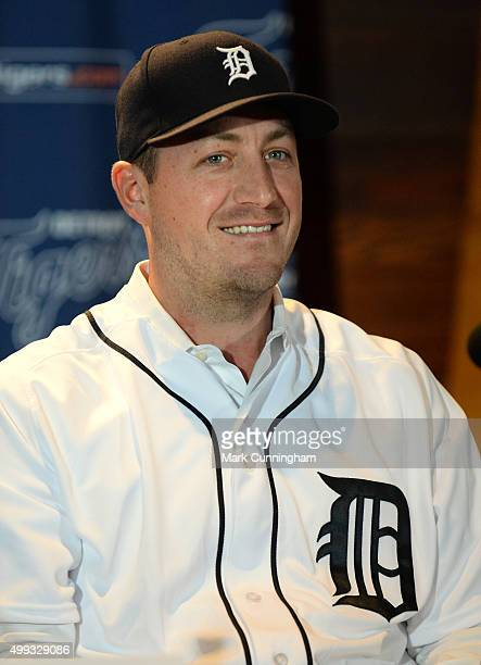 New Detroit Tigers pitcher Jordan Zimmermann looks on while talking to the media during the press conference to announce his contract signing at...
