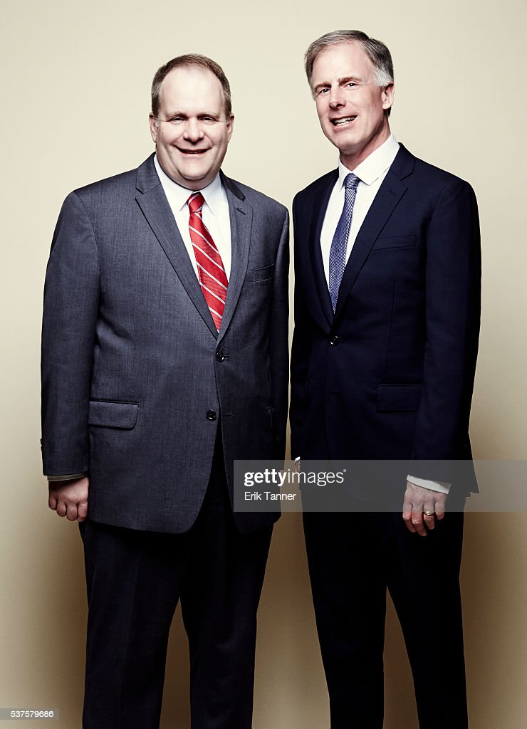 WTAE new director Justin Antoniotti and news caster Paul Van Osdol poses for a portrait at the 75th Annual Peabody Awards Ceremony at Cipriani Wall...