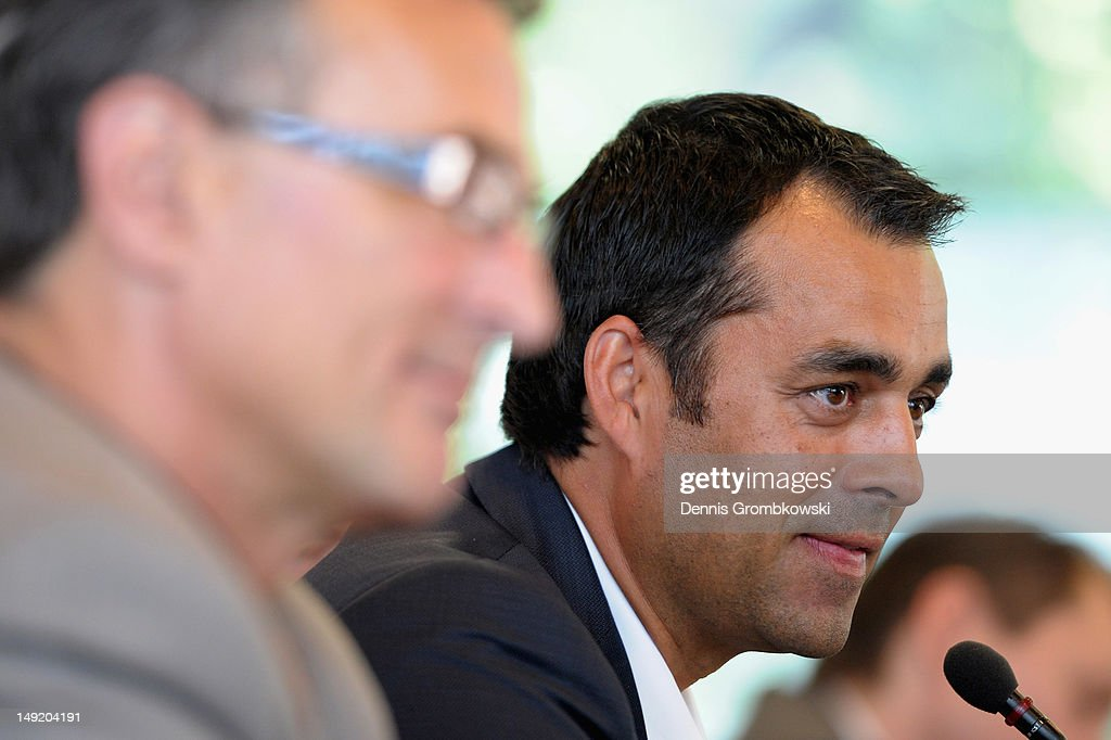 New director of Sports of the German Football Federation DFB Robin Dutt is presented during a press conference at DFB Headquarters on July 25 2012 in...