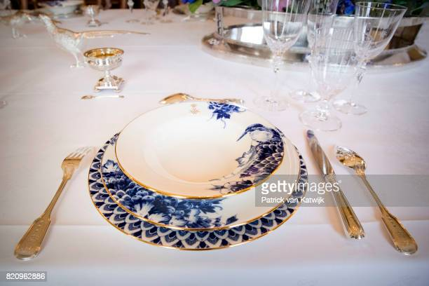 New dishes of King WillemAlexander and Queen Maxima of The Netherlands made of Delfts Blue work by De Porceleyne Fles in Palace Noordeinde on July 22...