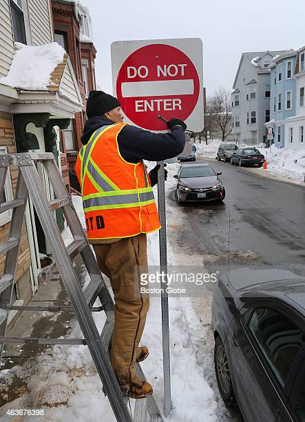 New 'Do Not Enter' signs were put up on streets in South Boston as the huge snow banks made it impossible for two vehicles to pass Brent Jackson with...