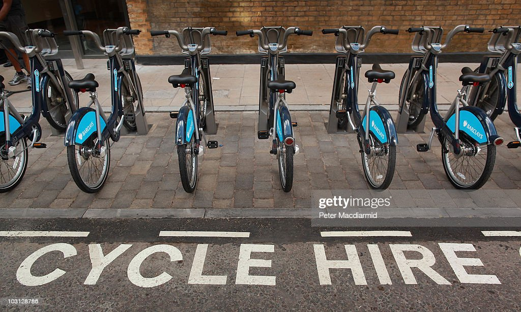 A new docking station contains bicycles for hire on July 28, 2010 in London, England. London's first public bicycle sharing scheme, which starts on July 30, 2010, will allow users to hire a cycle for short journeys around the Capital. Starting at £1 for an hour, users will be able to pick up a bike at one of 400 docking stations. 6000 thousand bikes will be available when the system is fully operational.