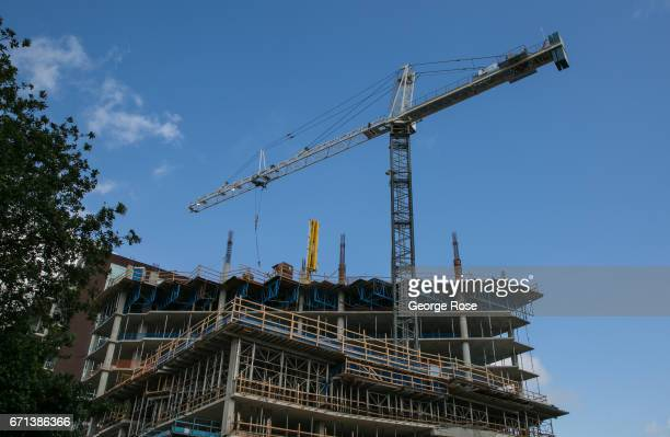 New downtown condominiums and office spaces are under construction along 5th and 6th Streets on April 14 in Austin Texas Austin the State Capital of...
