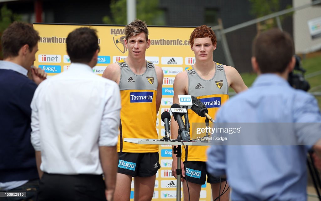 New draft picks Kaiden Brand and Tim O'Brien at their press conference during a Hawthorn Hawks pre-season AFL training session at Waverley Park on November 26, 2012 in Melbourne, Australia.