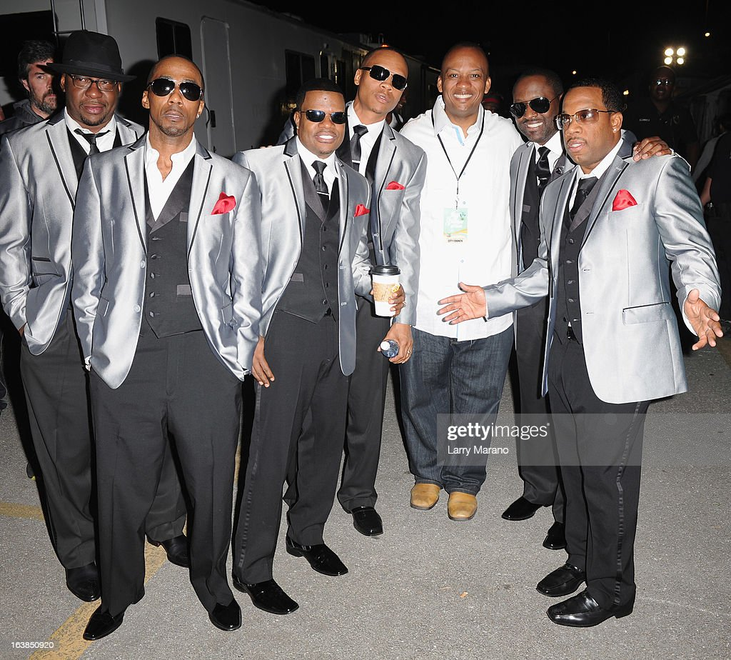 New Edition members including Bobby Brown, Ralph Tresvant, <a gi-track='captionPersonalityLinkClicked' href=/galleries/search?phrase=Ronnie+DeVoe&family=editorial&specificpeople=623524 ng-click='$event.stopPropagation()'>Ronnie DeVoe</a>, <a gi-track='captionPersonalityLinkClicked' href=/galleries/search?phrase=Ricky+Bell&family=editorial&specificpeople=623525 ng-click='$event.stopPropagation()'>Ricky Bell</a>, Miami Gardens Mayor Oliver G. Gilbert III, <a gi-track='captionPersonalityLinkClicked' href=/galleries/search?phrase=Johnny+Gill&family=editorial&specificpeople=233428 ng-click='$event.stopPropagation()'>Johnny Gill</a> and Michael Bivins pose backstage at the 8th Annual Jazz In The Gardens Day 1 at Sun Life Stadium presented by the City of Miami Gardens on March 16, 2013 in Miami Gardens, Florida.