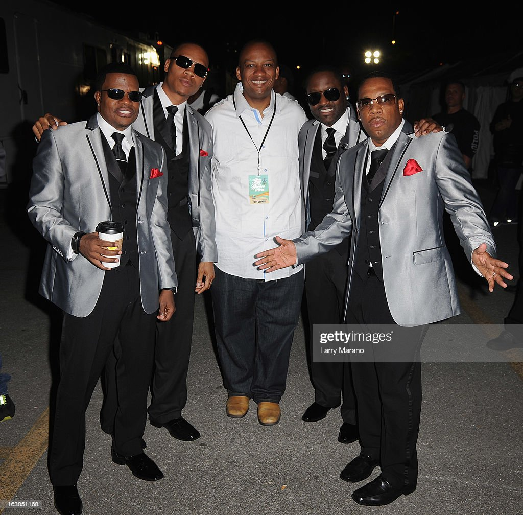 New Edition members <a gi-track='captionPersonalityLinkClicked' href=/galleries/search?phrase=Ricky+Bell&family=editorial&specificpeople=623525 ng-click='$event.stopPropagation()'>Ricky Bell</a>, <a gi-track='captionPersonalityLinkClicked' href=/galleries/search?phrase=Ronnie+DeVoe&family=editorial&specificpeople=623524 ng-click='$event.stopPropagation()'>Ronnie DeVoe</a>, Miami Gardens Mayor Oliver G. Gilbert III, <a gi-track='captionPersonalityLinkClicked' href=/galleries/search?phrase=Johnny+Gill&family=editorial&specificpeople=233428 ng-click='$event.stopPropagation()'>Johnny Gill</a> and Michael Bivins pose backstage at the 8th Annual Jazz In The Gardens Day 1 at Sun Life Stadium presented by the City of Miami Gardens on March 16, 2013 in Miami Gardens, Florida.