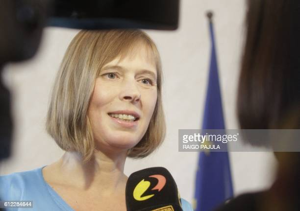 New elected Estonian President Kersti Kaljulaid talks to the media on October 3 2016 in Tallinn Estonia's parliament elected EU auditor Kersti...